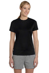 Hanes 4830 Womens Cool DRI FreshIQ Moisture Wicking Short Sleeve Crewneck T-Shirt Black Front