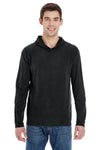 Comfort Colors 4900 Mens Long Sleeve Hooded T-Shirt Hoodie Black Front
