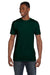 Hanes 4980 Mens Nano-T Short Sleeve Crewneck T-Shirt Forest Green Front