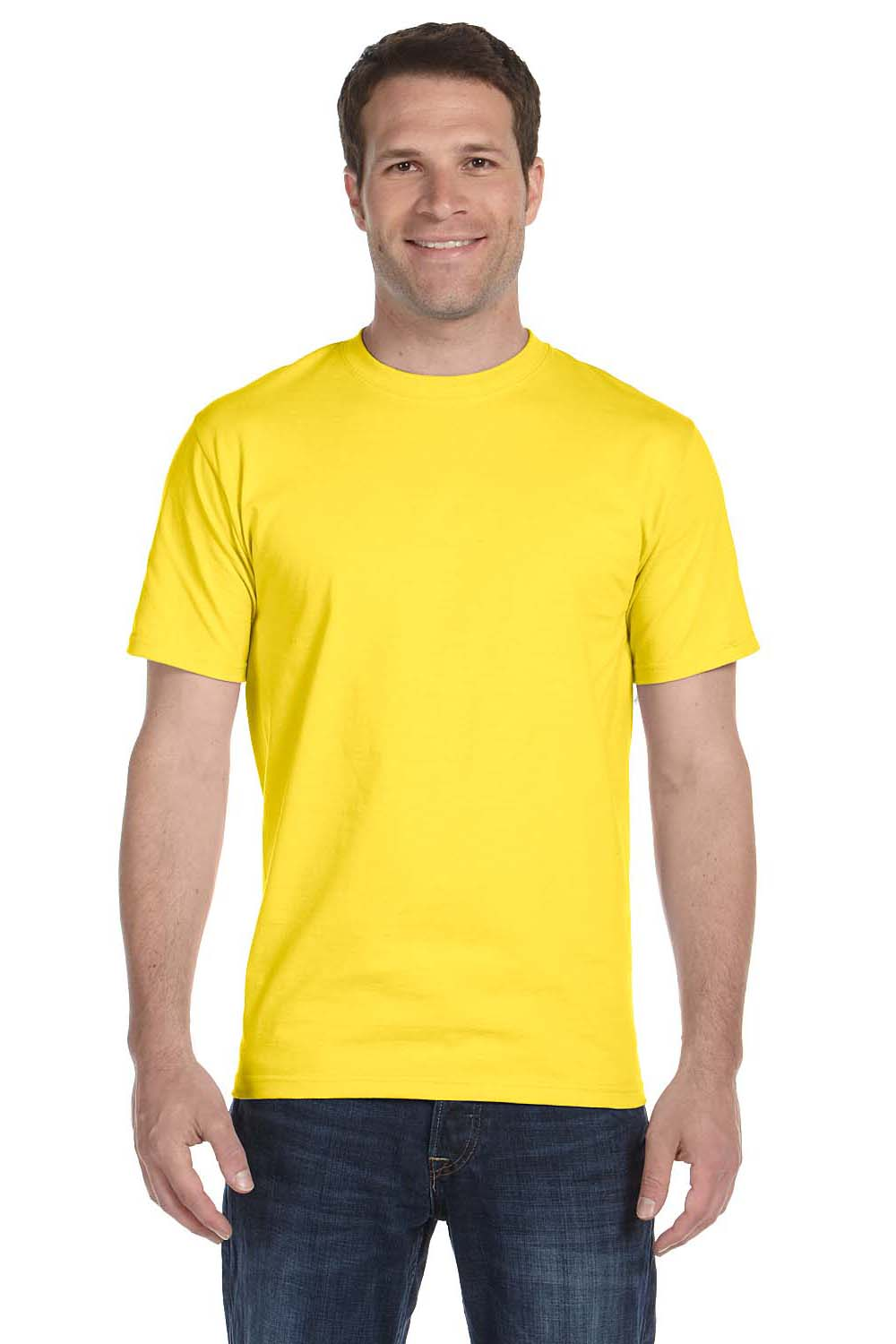 Hanes 5180 Mens Beefy-T Short Sleeve Crewneck T-Shirt Yellow Front