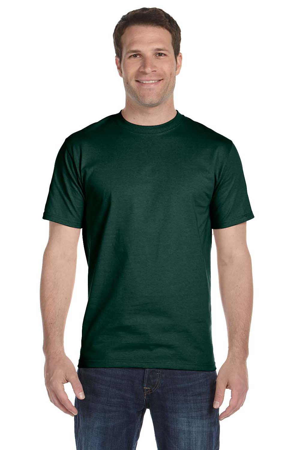 Hanes 5180 Mens Beefy-T Short Sleeve Crewneck T-Shirt Forest Green Front