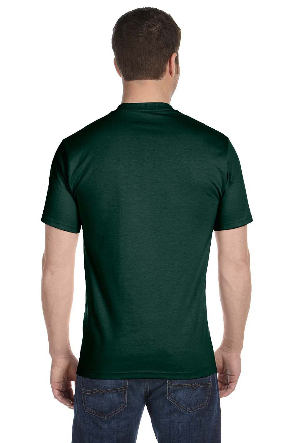 Hanes 5180 Mens Beefy-T Short Sleeve Crewneck T-Shirt Forest Green Back