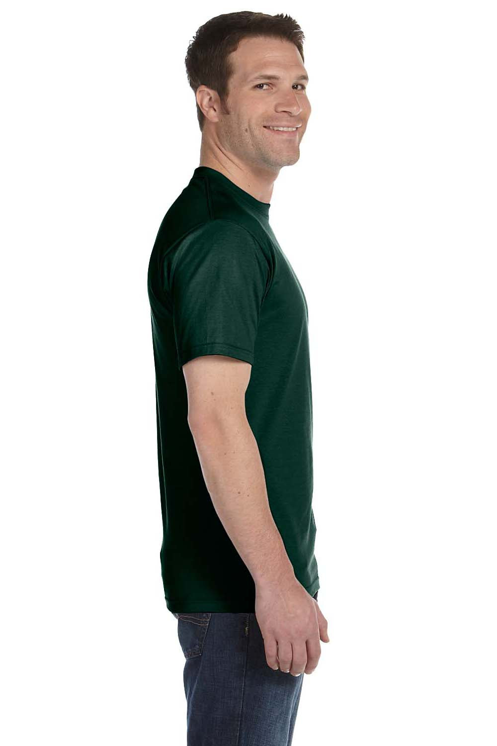Hanes 5180 Mens Beefy-T Short Sleeve Crewneck T-Shirt Forest Green Side