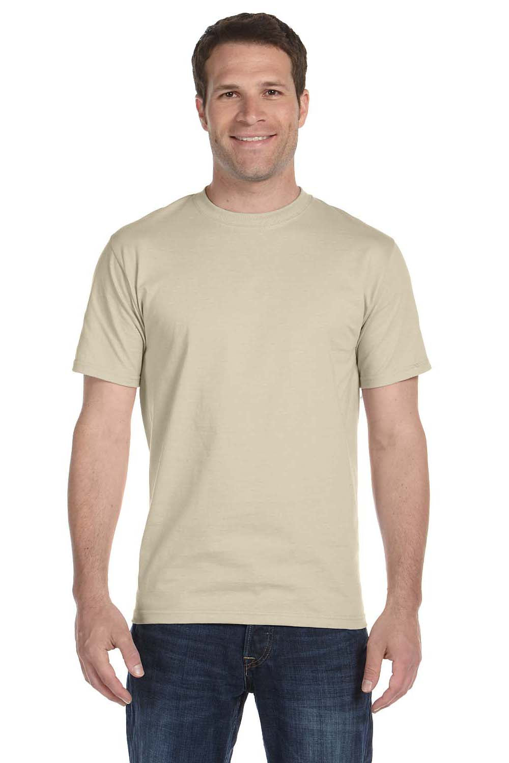 Hanes 5180 Mens Beefy-T Short Sleeve Crewneck T-Shirt Sand Brown Front