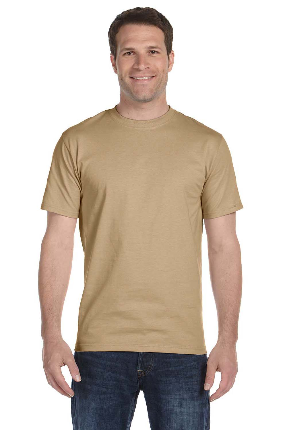 Hanes 5180 Mens Beefy-T Short Sleeve Crewneck T-Shirt Pebble Brown Front