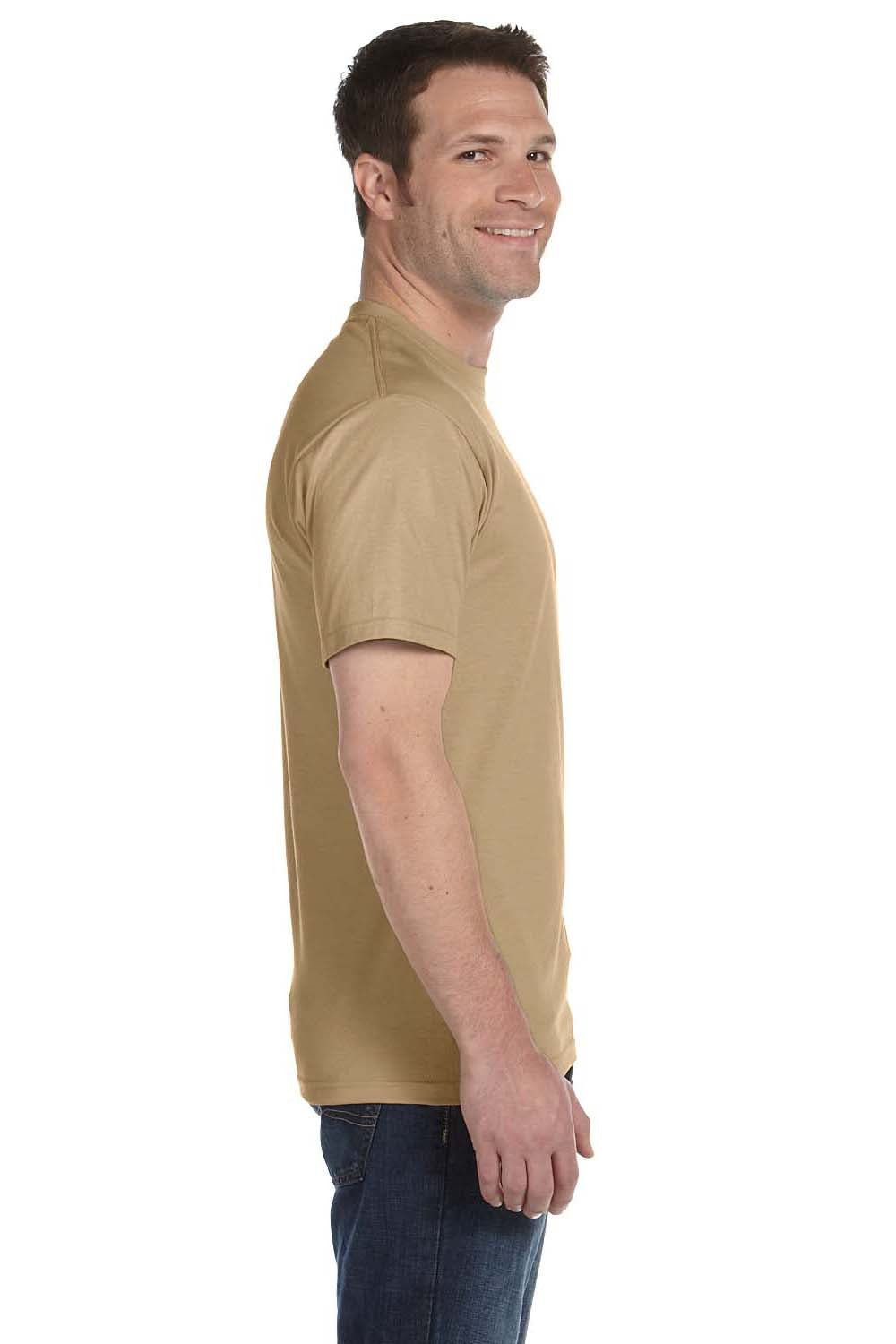 Hanes 5180 Mens Beefy-T Short Sleeve Crewneck T-Shirt Pebble Brown Side