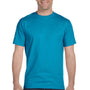 Hanes Mens Beefy-T Short Sleeve Crewneck T-Shirt - Teal Blue