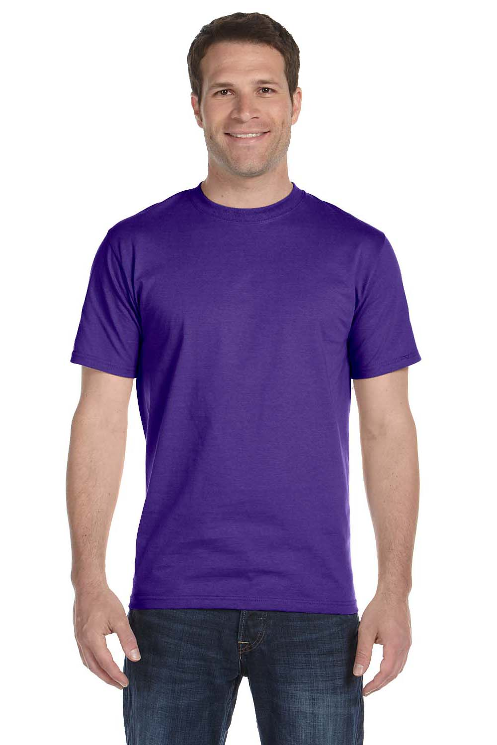 Hanes 5180 Mens Beefy-T Short Sleeve Crewneck T-Shirt Purple Front