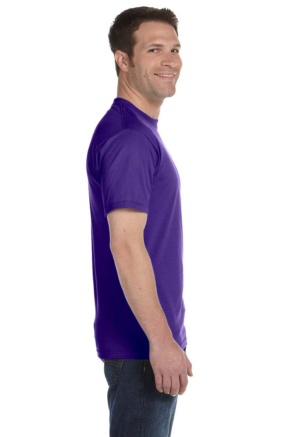 Hanes 5180 Mens Beefy-T Short Sleeve Crewneck T-Shirt Purple Side