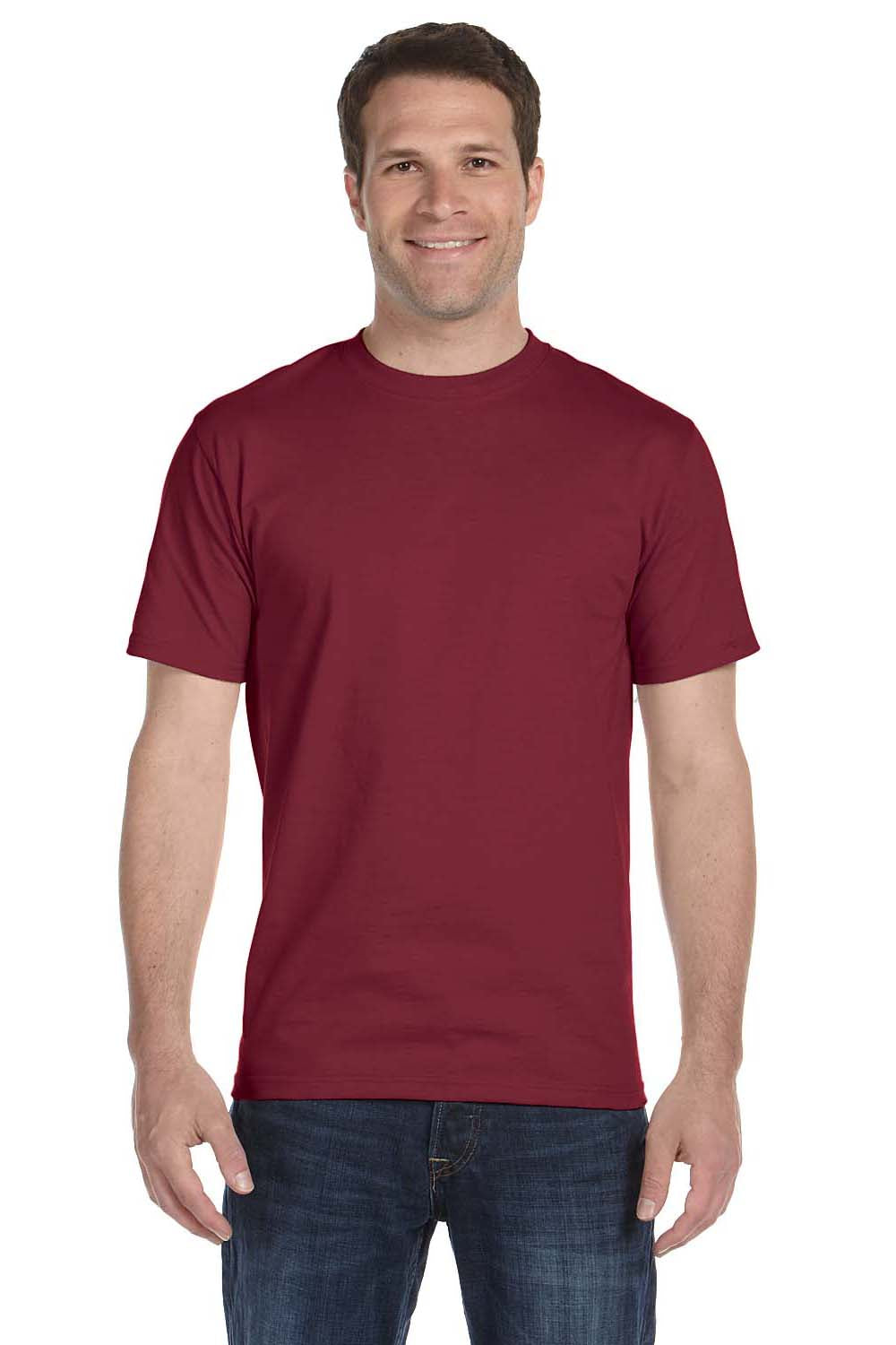 Hanes 5180 Mens Beefy-T Short Sleeve Crewneck T-Shirt Cardinal Red Front