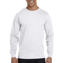 Hanes Mens Beefy-T Long Sleeve Crewneck T-Shirt - White