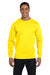 Hanes 5186 Mens Beefy-T Long Sleeve Crewneck T-Shirt Yellow Front