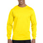 Hanes Mens Beefy-T Long Sleeve Crewneck T-Shirt - Yellow