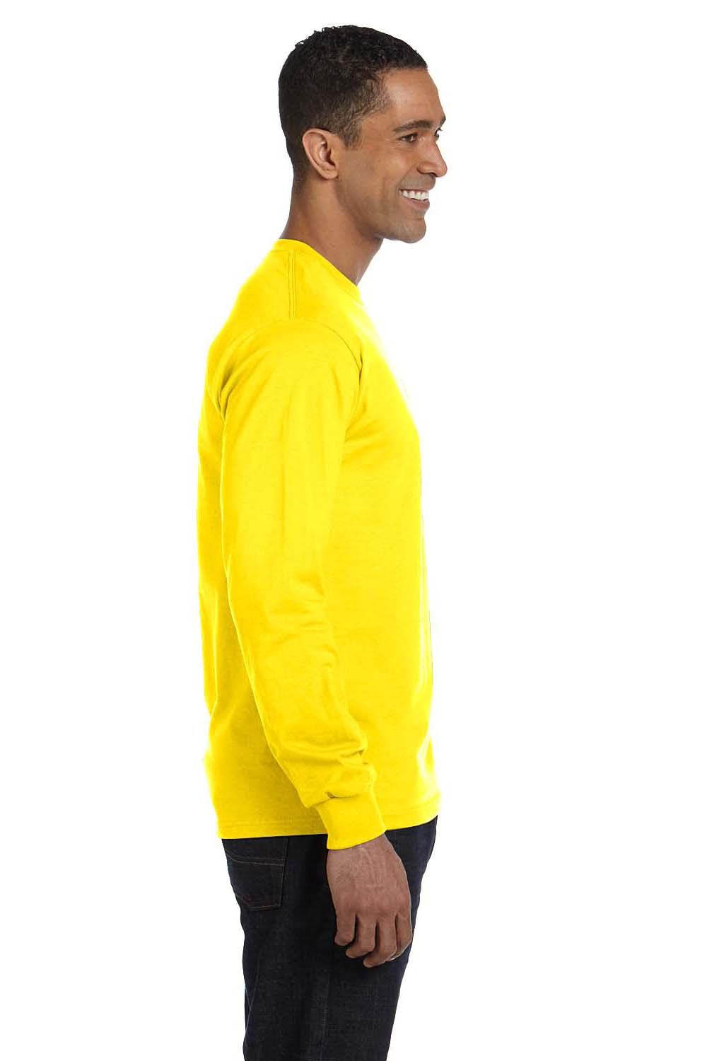 Hanes 5186 Mens Beefy-T Long Sleeve Crewneck T-Shirt Yellow Side