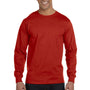 Hanes Mens Beefy-T Long Sleeve Crewneck T-Shirt - Deep Red