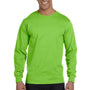 Hanes Mens Beefy-T Long Sleeve Crewneck T-Shirt - Lime Green