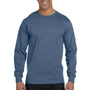 Hanes Mens Beefy-T Long Sleeve Crewneck T-Shirt - Denim Blue