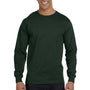Hanes Mens Beefy-T Long Sleeve Crewneck T-Shirt - Deep Forest Green