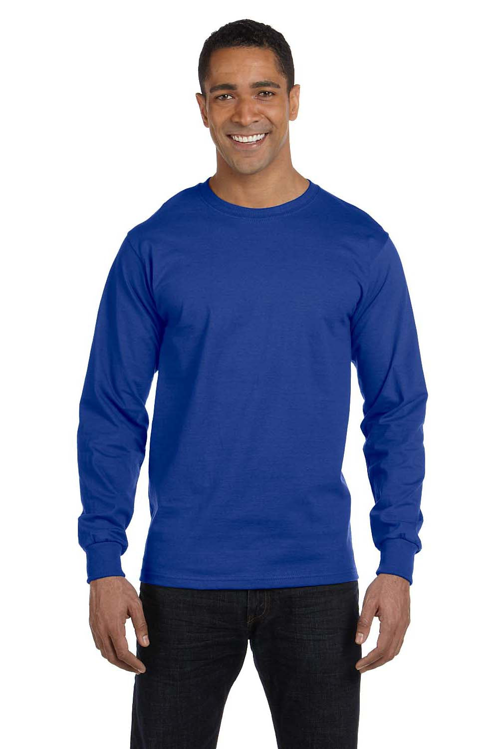 Hanes 5186 Mens Beefy-T Long Sleeve Crewneck T-Shirt Royal Blue Front