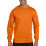 Hanes Mens Beefy-T Long Sleeve Crewneck T-Shirt - Orange