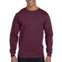 Hanes Mens Beefy-T Long Sleeve Crewneck T-Shirt - Maroon