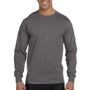 Hanes Mens Beefy-T Long Sleeve Crewneck T-Shirt - Smoke Grey