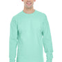Hanes Mens Beefy-T Long Sleeve Crewneck T-Shirt - Clean Mint Green
