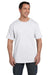Hanes 5190P Mens Beefy-T Short Sleeve Crewneck T-Shirt w/ Pocket White Front