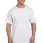 Hanes Mens Beefy-T Short Sleeve Crewneck T-Shirt w/ Pocket - White
