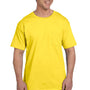 Hanes Mens Beefy-T Short Sleeve Crewneck T-Shirt w/ Pocket - Yellow