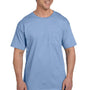 Hanes Mens Beefy-T Short Sleeve Crewneck T-Shirt w/ Pocket - Light Blue