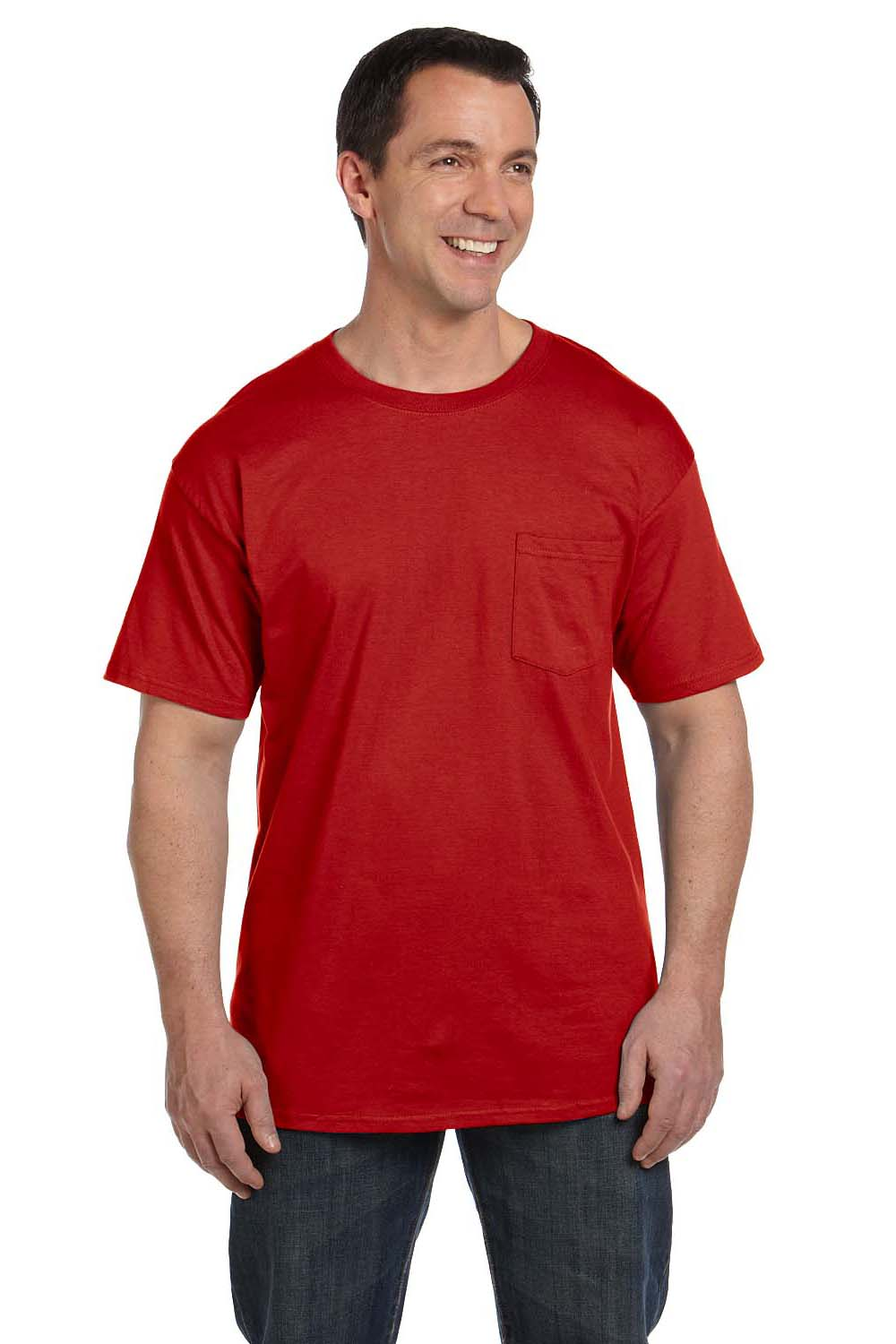 Hanes 5190P Mens Beefy-T Short Sleeve Crewneck T-Shirt w/ Pocket Red Front