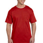 Hanes Mens Beefy-T Short Sleeve Crewneck T-Shirt w/ Pocket - Deep Red