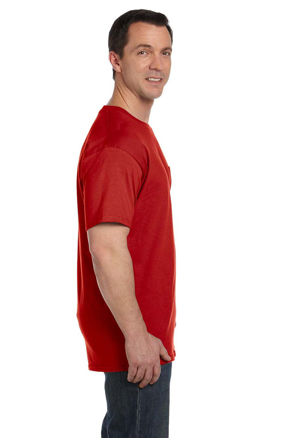 Hanes 5190P Mens Beefy-T Short Sleeve Crewneck T-Shirt w/ Pocket Red Side