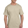 Hanes Mens Beefy-T Short Sleeve Crewneck T-Shirt w/ Pocket - Sand