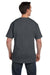 Hanes 5190P Mens Beefy-T Short Sleeve Crewneck T-Shirt w/ Pocket Heather Charcoal Grey Back