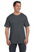 Hanes 5190P Mens Beefy-T Short Sleeve Crewneck T-Shirt w/ Pocket Heather Charcoal Grey Front