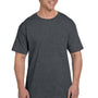 Hanes Mens Beefy-T Short Sleeve Crewneck T-Shirt w/ Pocket - Heather Charcoal Grey