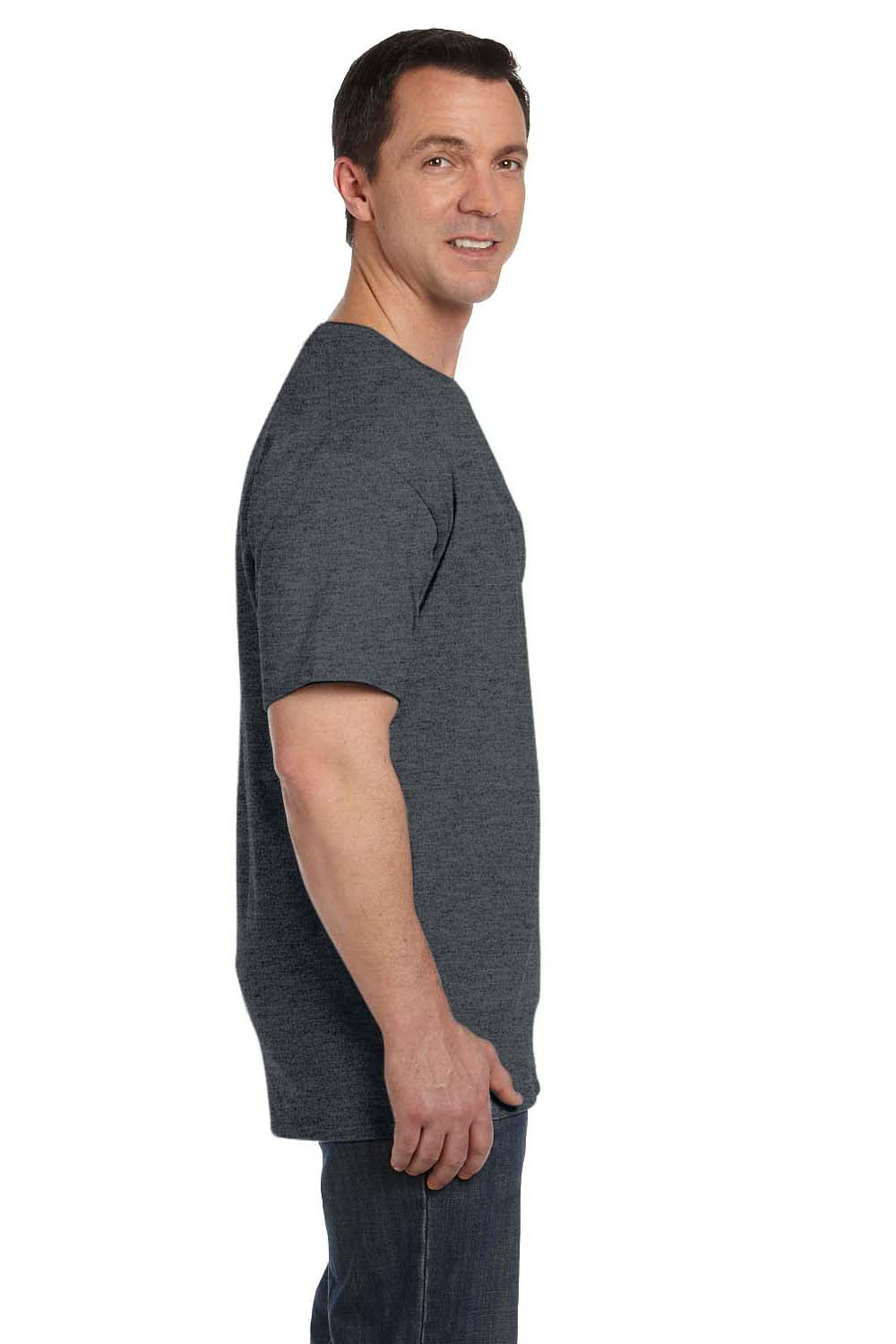 Hanes 5190P Mens Beefy-T Short Sleeve Crewneck T-Shirt w/ Pocket Heather Charcoal Grey Side