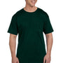 Hanes Mens Beefy-T Short Sleeve Crewneck T-Shirt w/ Pocket - Deep Forest Green