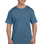 Hanes Mens Beefy-T Short Sleeve Crewneck T-Shirt w/ Pocket - Denim Blue