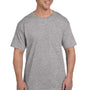 Hanes Mens Beefy-T Short Sleeve Crewneck T-Shirt w/ Pocket - Light Steel Grey