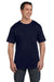 Hanes 5190P Mens Beefy-T Short Sleeve Crewneck T-Shirt w/ Pocket Navy Blue Front