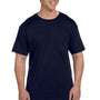 Hanes Mens Beefy-T Short Sleeve Crewneck T-Shirt w/ Pocket - Navy Blue