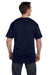 Hanes 5190P Mens Beefy-T Short Sleeve Crewneck T-Shirt w/ Pocket Navy Blue Back