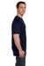 Hanes 5190P Mens Beefy-T Short Sleeve Crewneck T-Shirt w/ Pocket Navy Blue Side