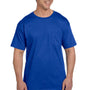 Hanes Mens Beefy-T Short Sleeve Crewneck T-Shirt w/ Pocket - Deep Royal Blue