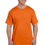 Hanes Mens Beefy-T Short Sleeve Crewneck T-Shirt w/ Pocket - Orange