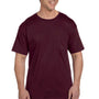 Hanes Mens Beefy-T Short Sleeve Crewneck T-Shirt w/ Pocket - Maroon