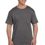 Hanes Mens Beefy-T Short Sleeve Crewneck T-Shirt w/ Pocket - Smoke Grey